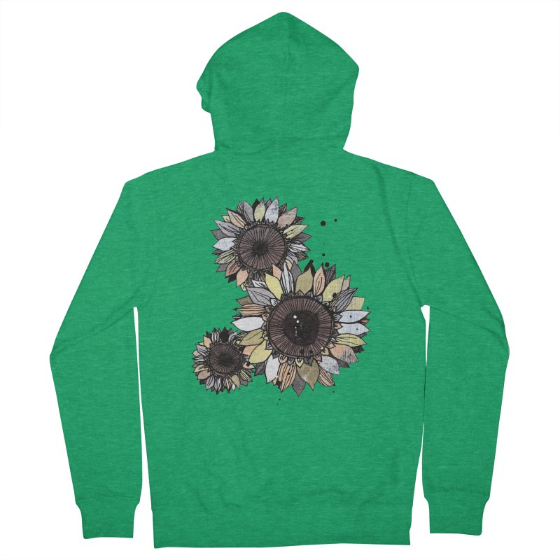 Sunflowers (White) Men's Zip-Up Hoody by ilustramar's Artist Shop