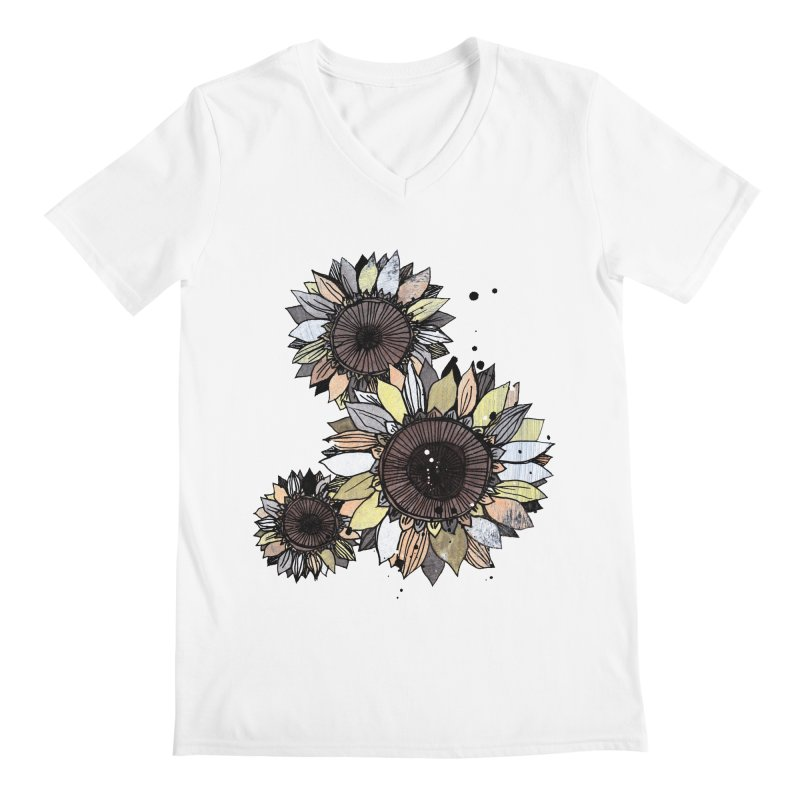 Sunflowers (White) Men's V-Neck by ilustramar's Artist Shop