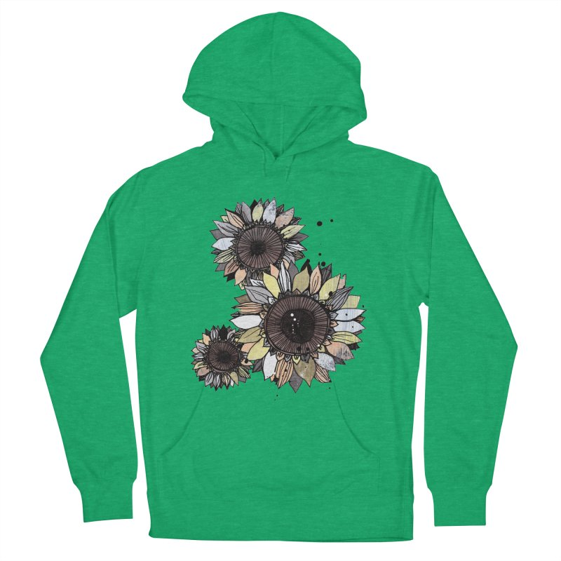 Sunflowers (White) Men's French Terry Pullover Hoody by ilustramar's Artist Shop
