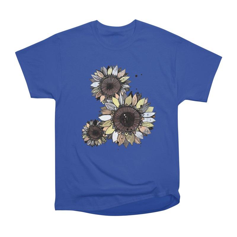 Sunflowers (White) Women's Heavyweight Unisex T-Shirt by ilustramar's Artist Shop