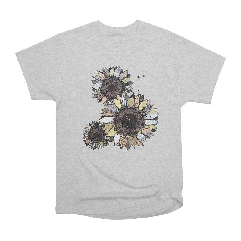 Sunflowers (White) Women's Heavyweight Unisex T-Shirt by ilustramar's Artist Shop