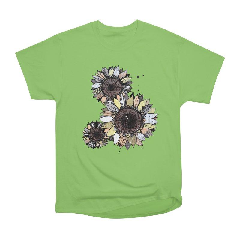 Sunflowers (White) Men's Heavyweight T-Shirt by ilustramar's Artist Shop