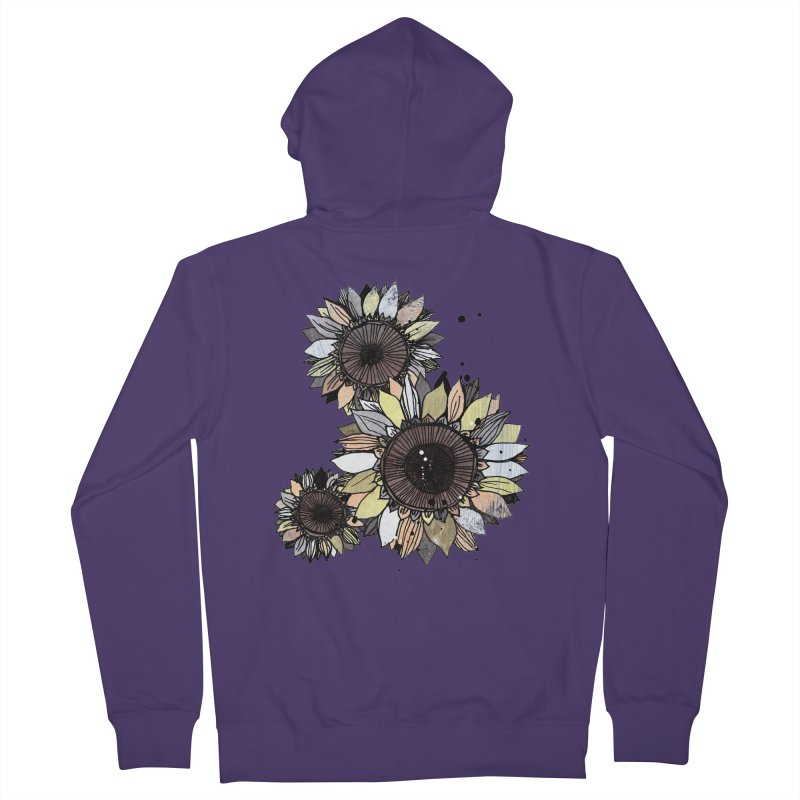Sunflowers (White) Women's French Terry Zip-Up Hoody by ilustramar's Artist Shop