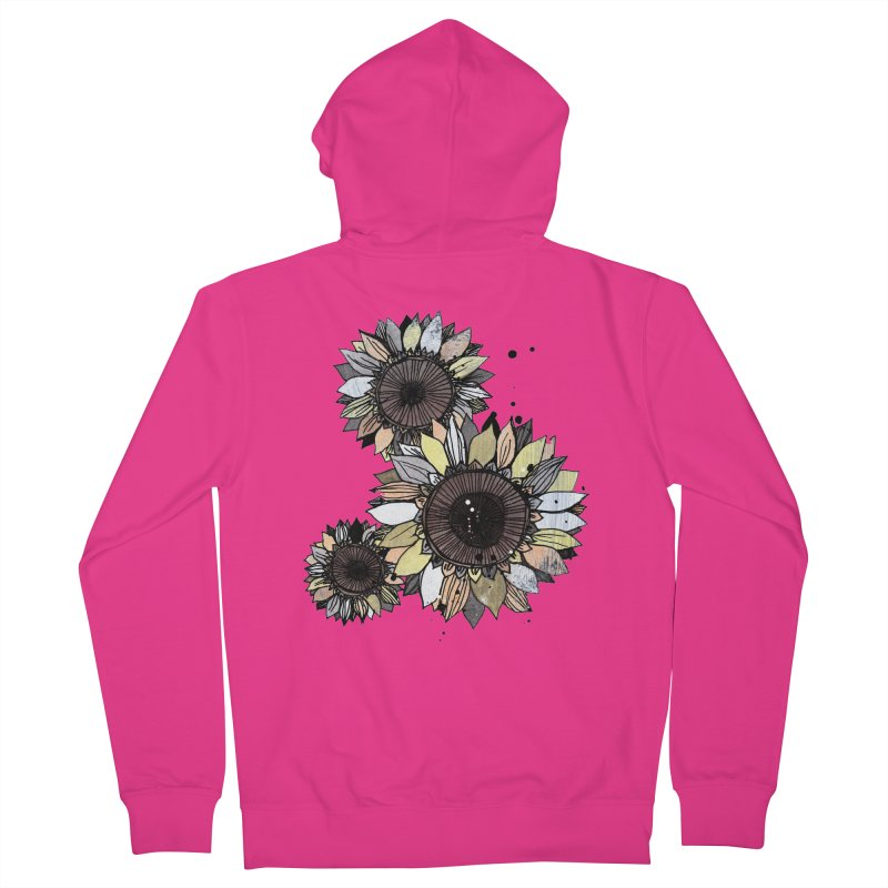 Sunflowers (White) Men's French Terry Zip-Up Hoody by ilustramar's Artist Shop
