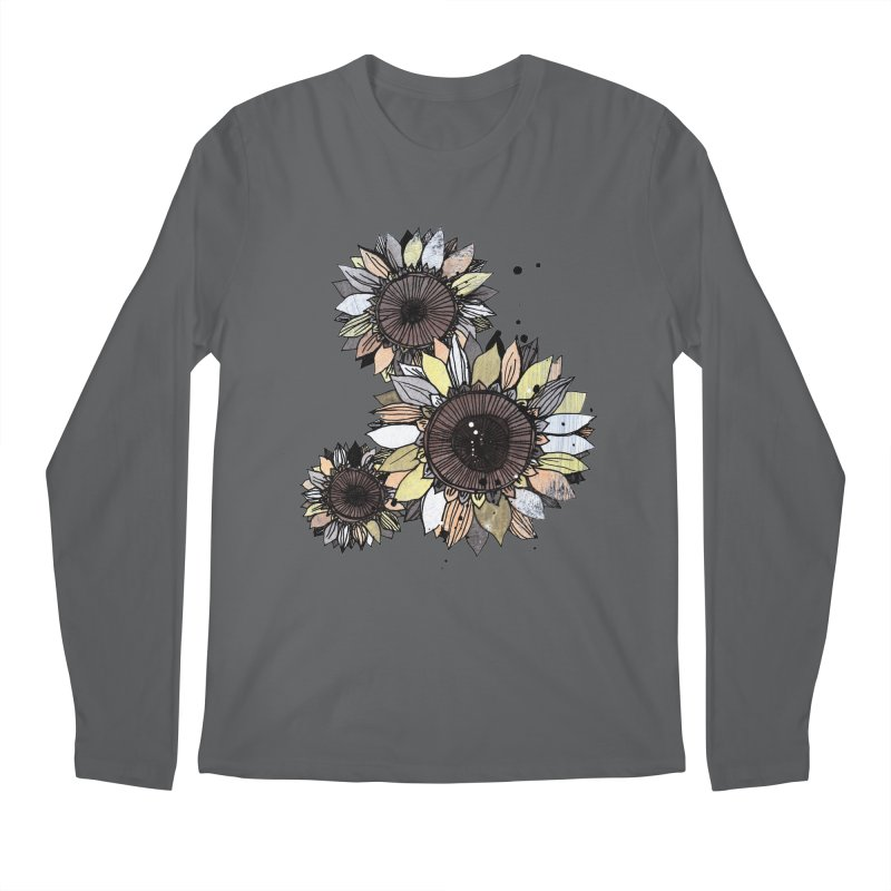 Sunflowers (White) Men's Longsleeve T-Shirt by ilustramar's Artist Shop