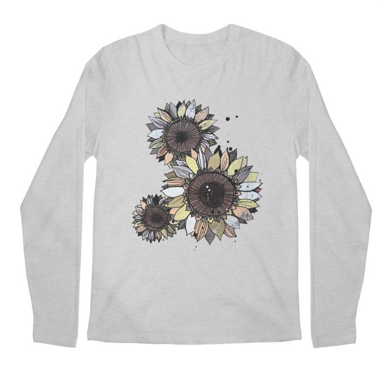 Sunflowers (White) Men's Regular Longsleeve T-Shirt by ilustramar's Artist Shop