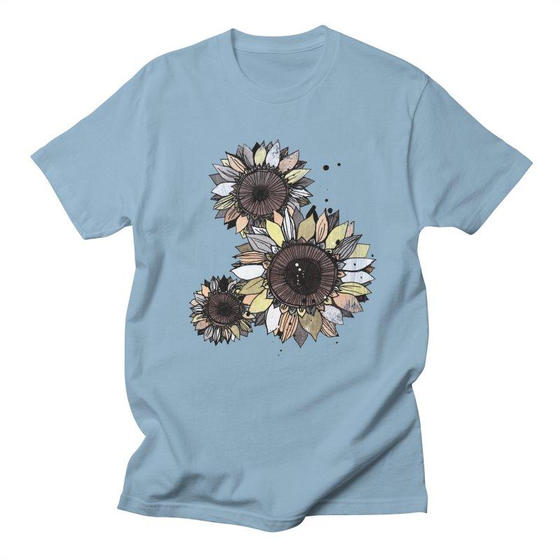 Sunflowers (White) Men's Regular T-Shirt by ilustramar's Artist Shop