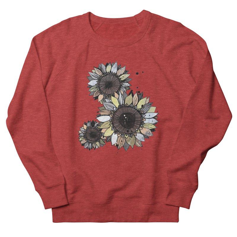 Sunflowers (White) Women's French Terry Sweatshirt by ilustramar's Artist Shop