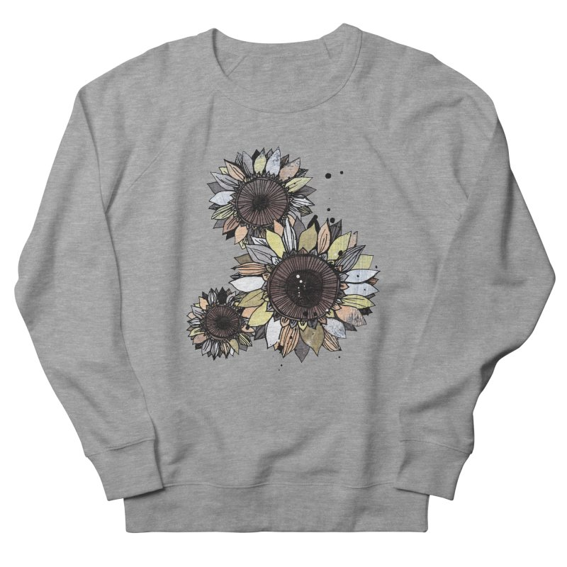 Sunflowers (White) Men's French Terry Sweatshirt by ilustramar's Artist Shop
