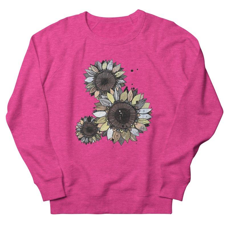 Sunflowers (White) Men's French Terry Sweatshirt by ilustramar's Artist Shop
