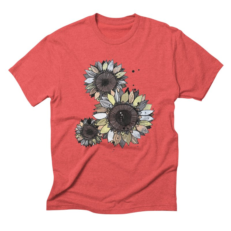 Sunflowers (White) Men's Triblend T-Shirt by ilustramar's Artist Shop