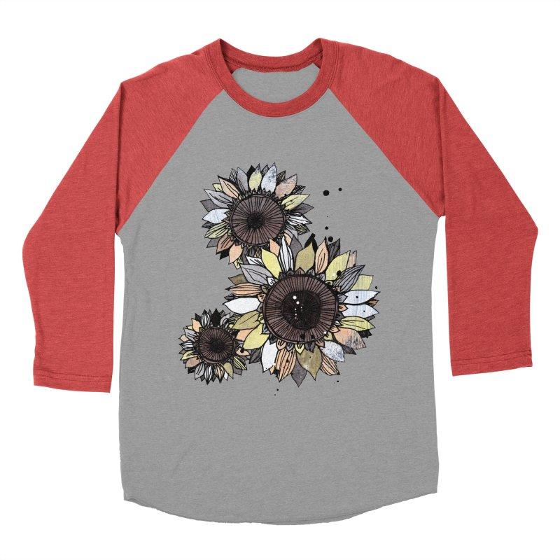 Sunflowers (White) Men's Baseball Triblend Longsleeve T-Shirt by ilustramar's Artist Shop