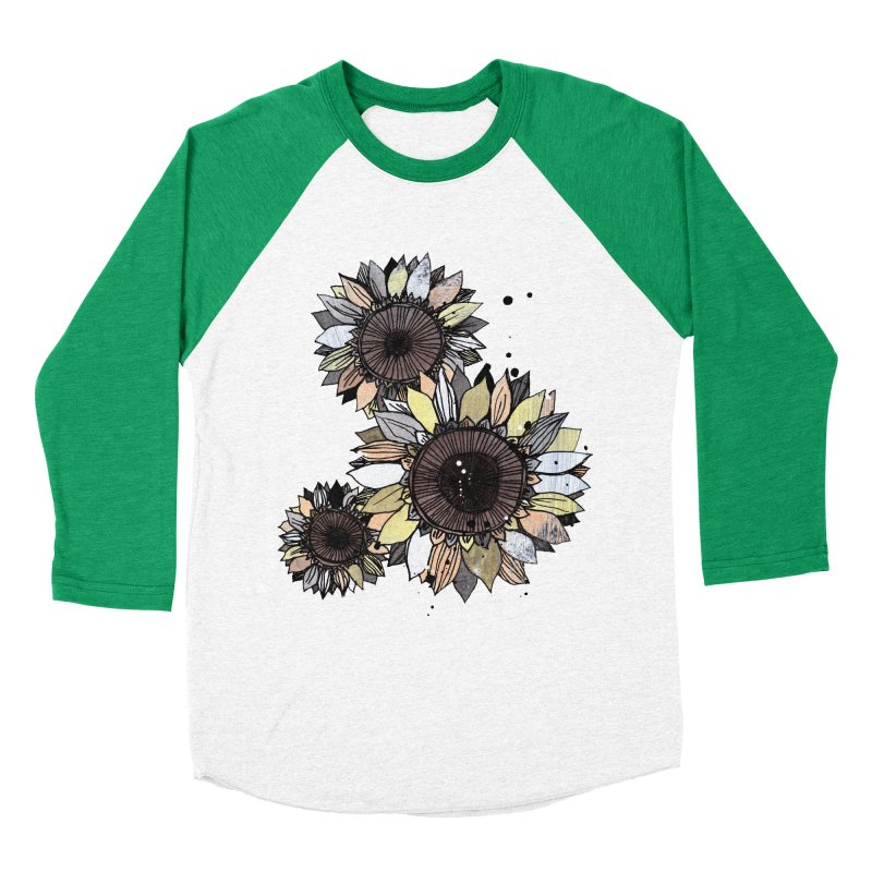 Sunflowers (White) Men's Baseball Triblend Longsleeve T-Shirt by ilustramar's Artist Shop