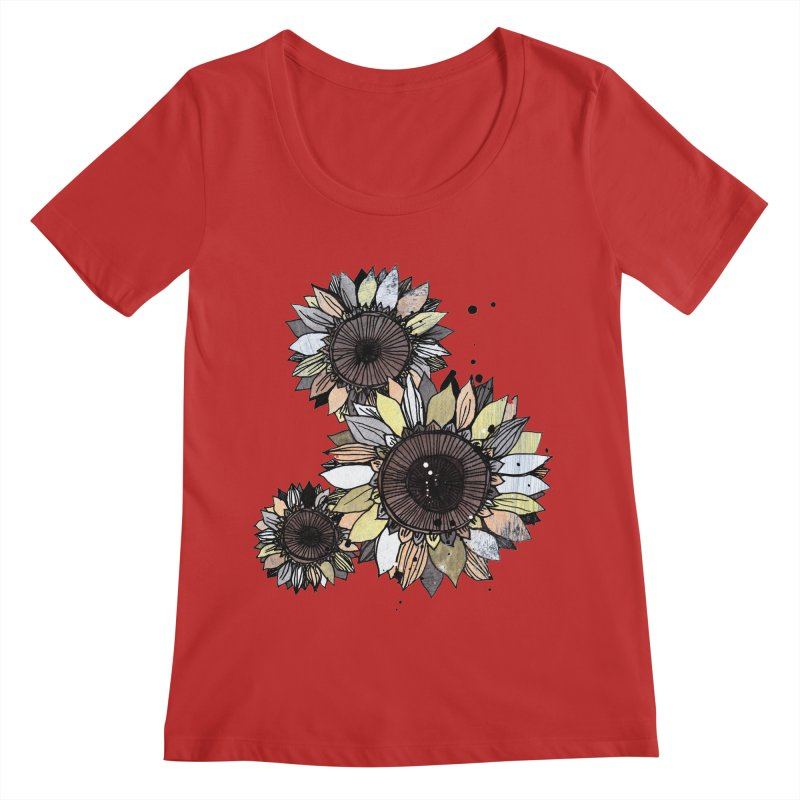 Sunflowers (White) Women's Regular Scoop Neck by ilustramar's Artist Shop