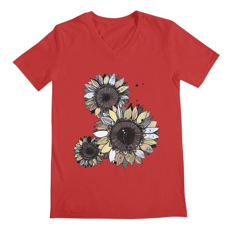 Sunflowers (White) Men's Regular V-Neck by ilustramar's Artist Shop