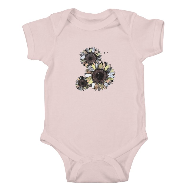Sunflowers (White) Kids Baby Bodysuit by ilustramar's Artist Shop