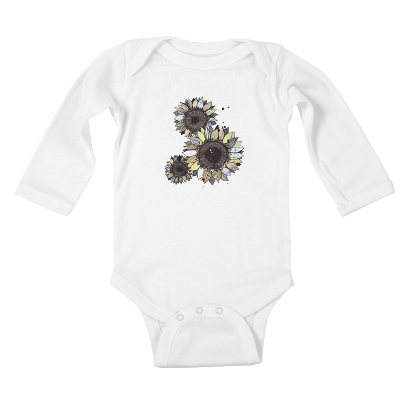 Sunflowers (White) Kids Baby Longsleeve Bodysuit by ilustramar's Artist Shop