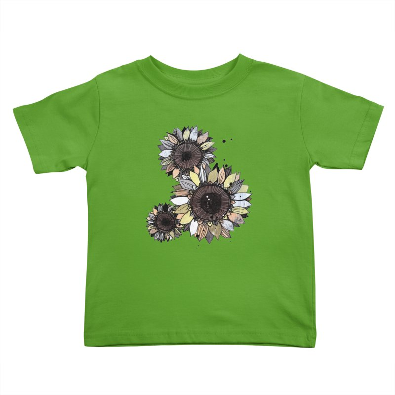 Sunflowers (White) Kids Toddler T-Shirt by ilustramar's Artist Shop