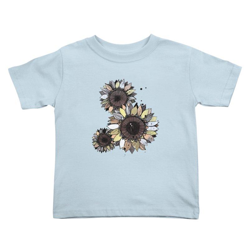 Sunflowers (White) Kids Toddler T-Shirt by ilustramar's Artist Shop