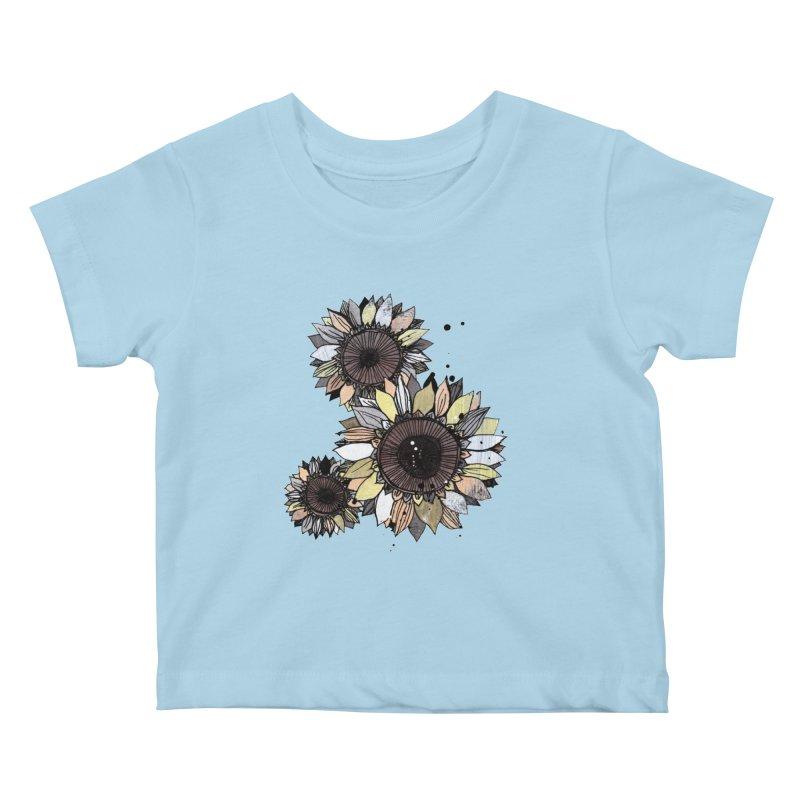 Sunflowers (White) Kids Baby T-Shirt by ilustramar's Artist Shop
