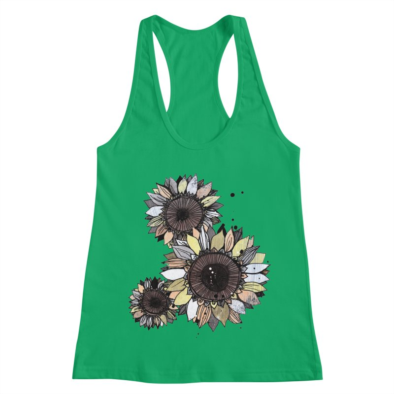 Sunflowers (White) Women's Racerback Tank by ilustramar's Artist Shop