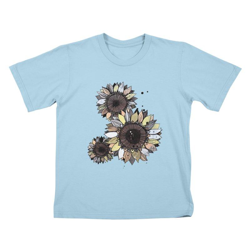 Sunflowers (White) Kids T-Shirt by ilustramar's Artist Shop