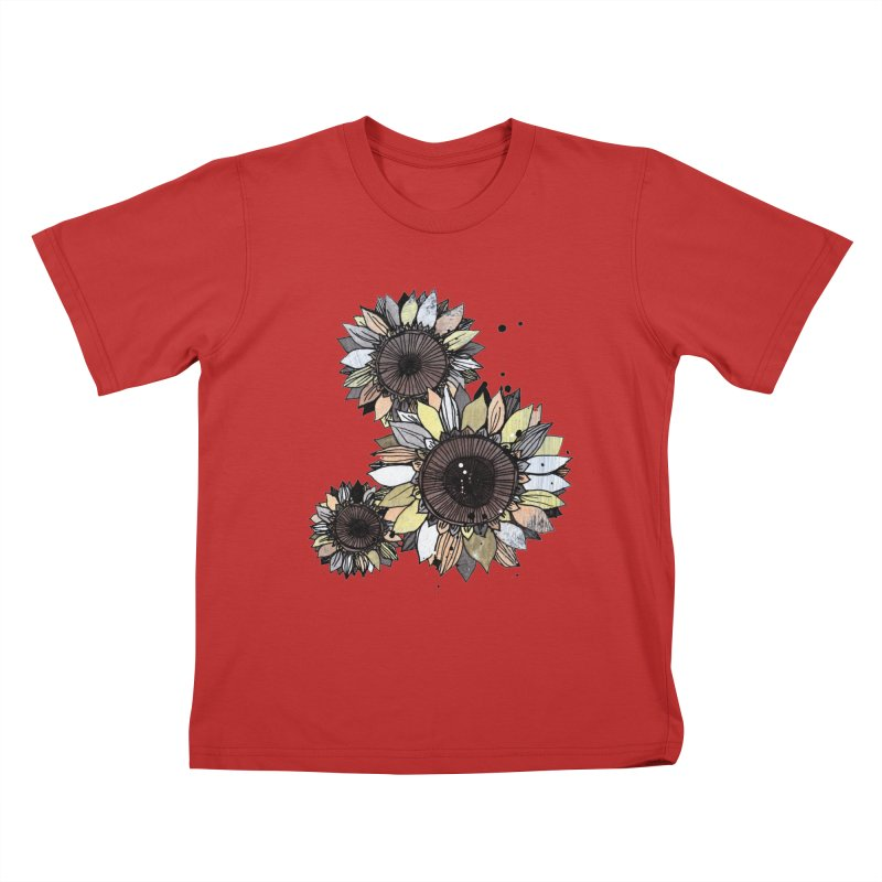 Sunflowers (White) Kids T-Shirt by ilustramar's Artist Shop