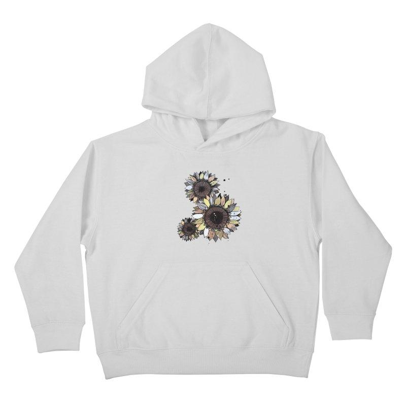 Sunflowers (White) Kids Pullover Hoody by ilustramar's Artist Shop