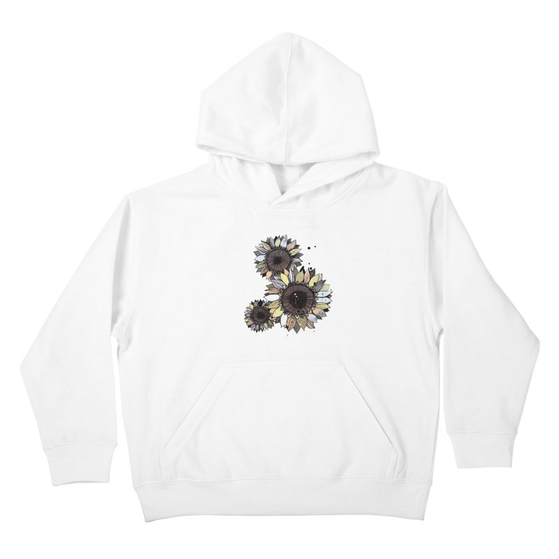 Sunflowers (White) Kids Pullover Hoody by ilustramar's Artist Shop