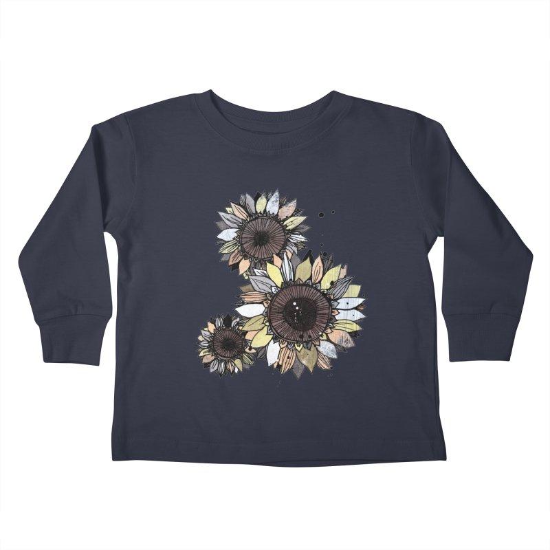 Sunflowers (White) Kids Toddler Longsleeve T-Shirt by ilustramar's Artist Shop