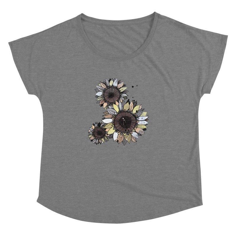 Sunflowers (White) Women's Scoop Neck by ilustramar's Artist Shop