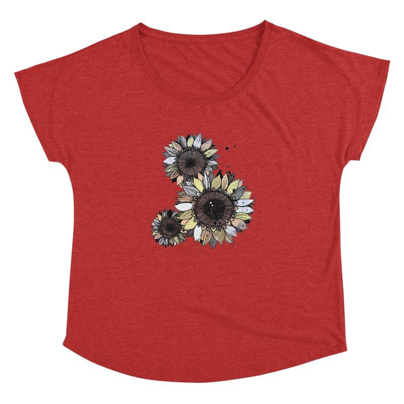 Sunflowers (White) Women's Dolman Scoop Neck by ilustramar's Artist Shop