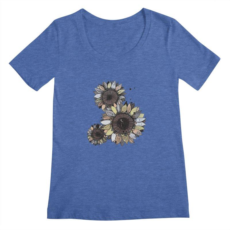 Sunflowers (White) Women's Regular Scoop Neck by ilustramar's Artist Shop