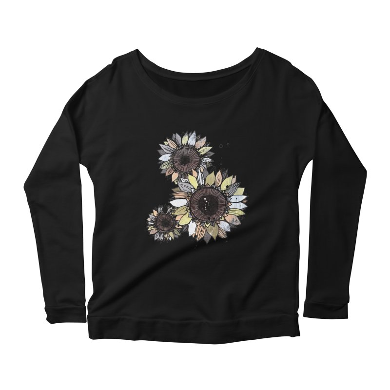 Sunflowers (White) Women's Scoop Neck Longsleeve T-Shirt by ilustramar's Artist Shop