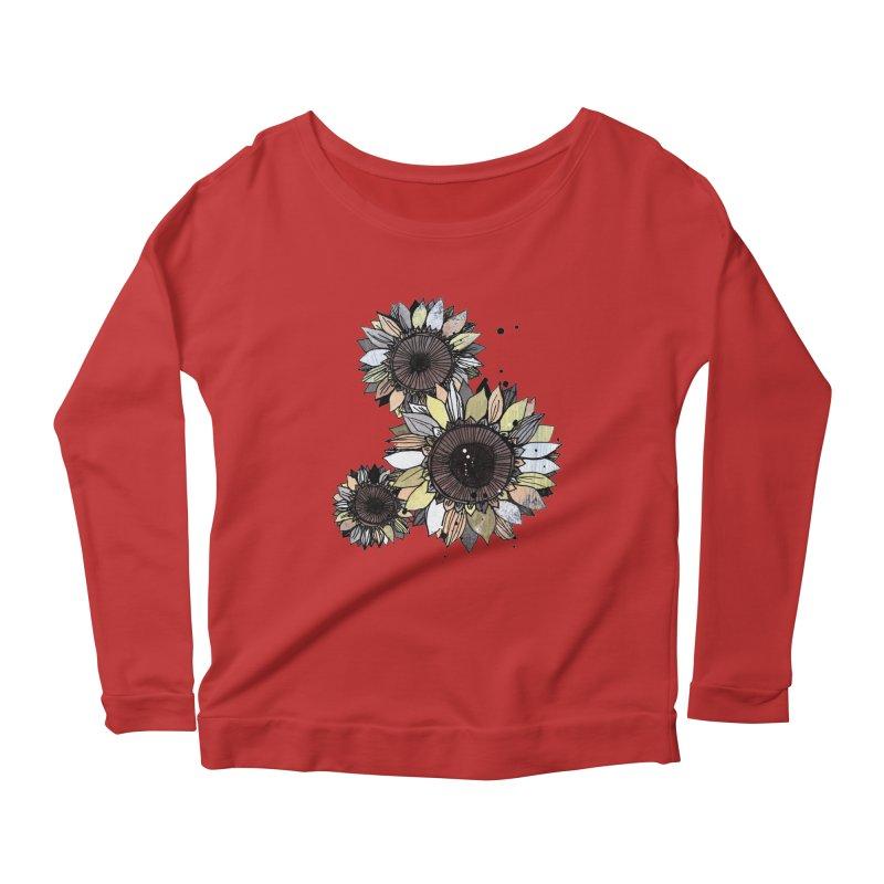 Sunflowers (White) Women's Scoop Neck Longsleeve T-Shirt by ilustramar's Artist Shop