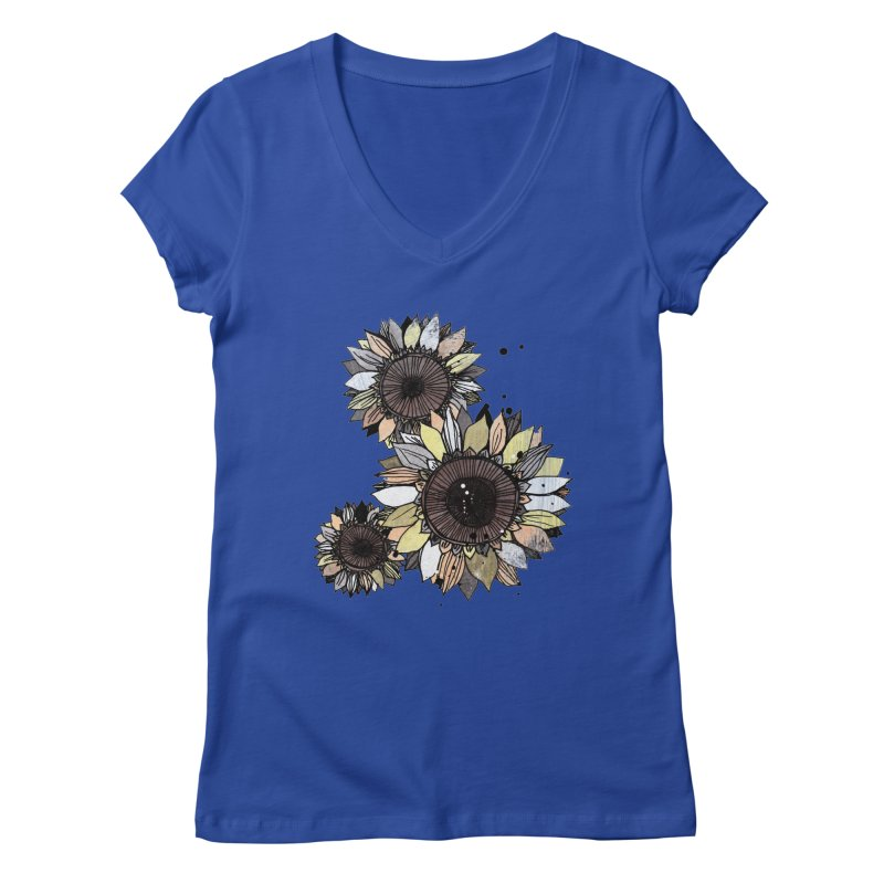 Sunflowers (White) Women's Regular V-Neck by ilustramar's Artist Shop