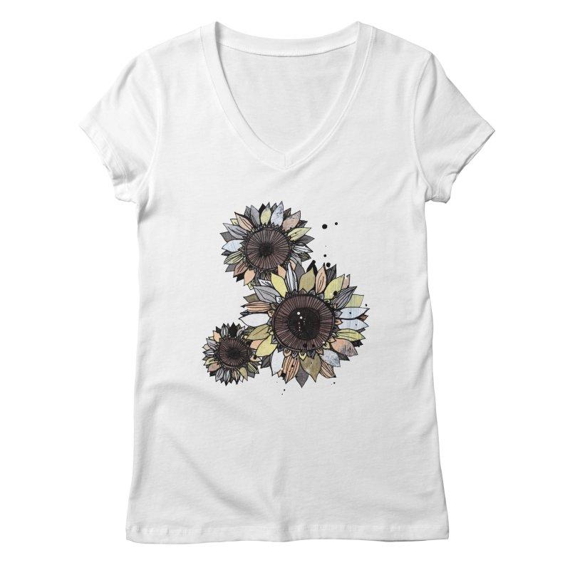 Sunflowers (White) Women's Regular V-Neck by ilustramar's Artist Shop