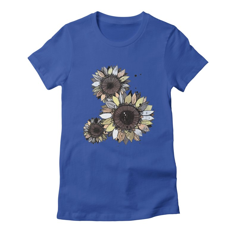 Sunflowers (White) Women's Fitted T-Shirt by ilustramar's Artist Shop