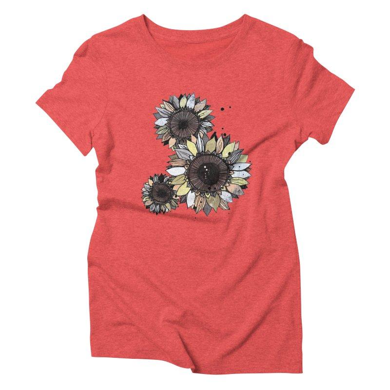 Sunflowers (White) Women's Triblend T-Shirt by ilustramar's Artist Shop