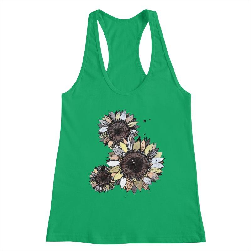Sunflowers (White) Women's Tank by ilustramar's Artist Shop