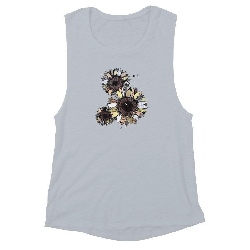 Sunflowers (White) Women's Muscle Tank by ilustramar's Artist Shop