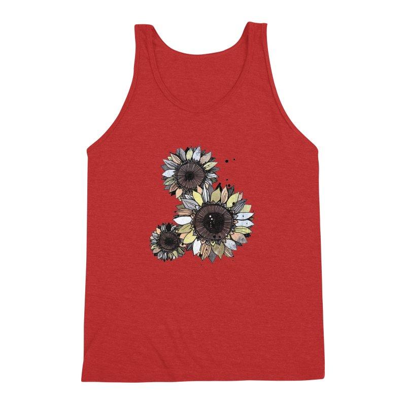 Sunflowers (White) Men's Triblend Tank by ilustramar's Artist Shop