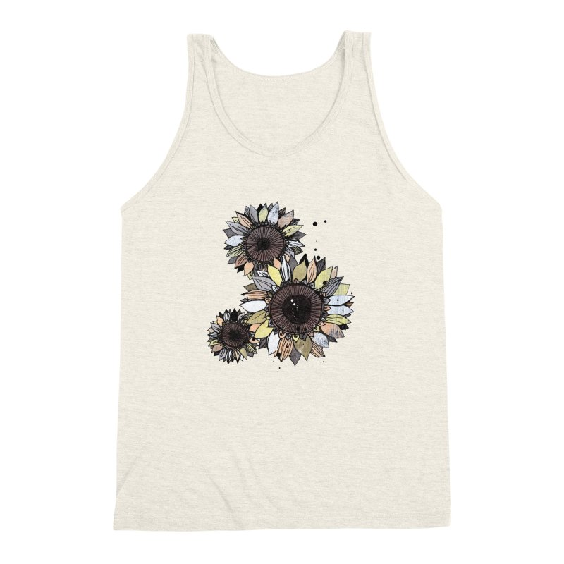 Sunflowers (White) Men's Triblend Tank by ilustramar's Artist Shop