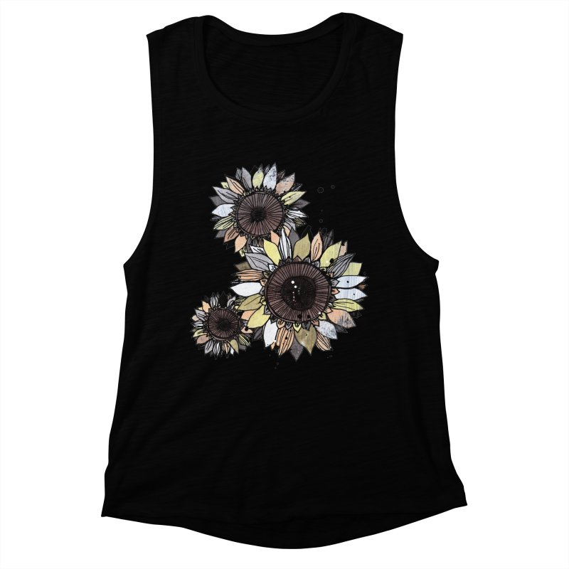 Sunflowers (White) Women's Muscle Tank by ilustramar's Artist Shop