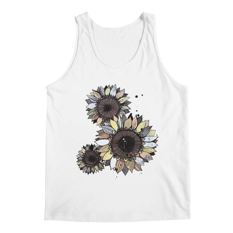 Sunflowers (White) Men's Regular Tank by ilustramar's Artist Shop