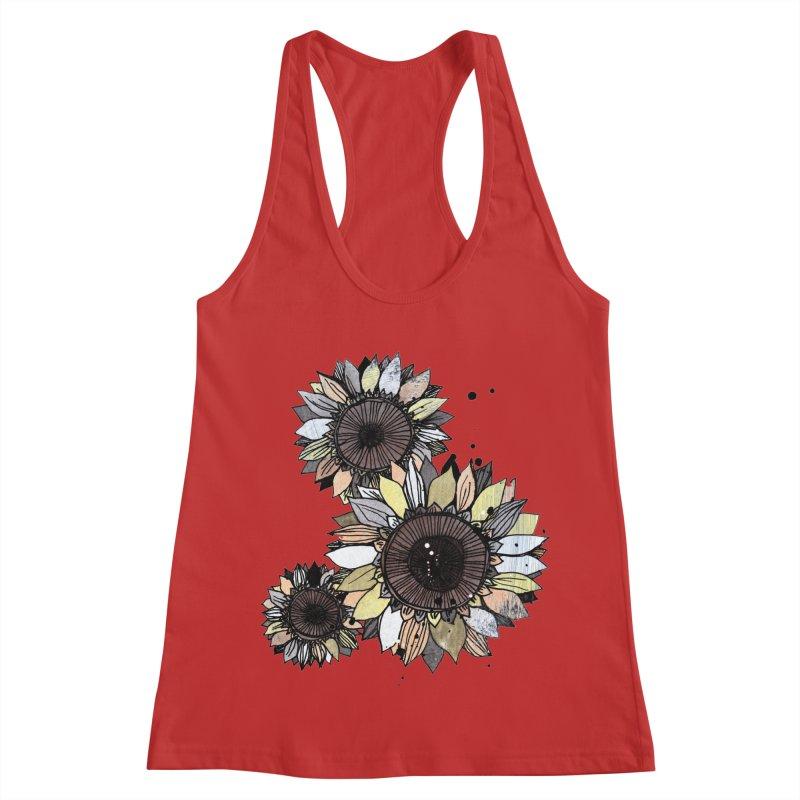 Sunflowers (White) Women's Racerback Tank by ilustramar's Artist Shop