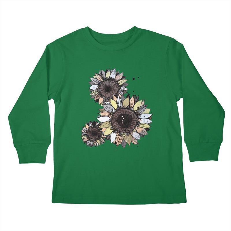 Sunflowers (White) Kids Longsleeve T-Shirt by ilustramar's Artist Shop