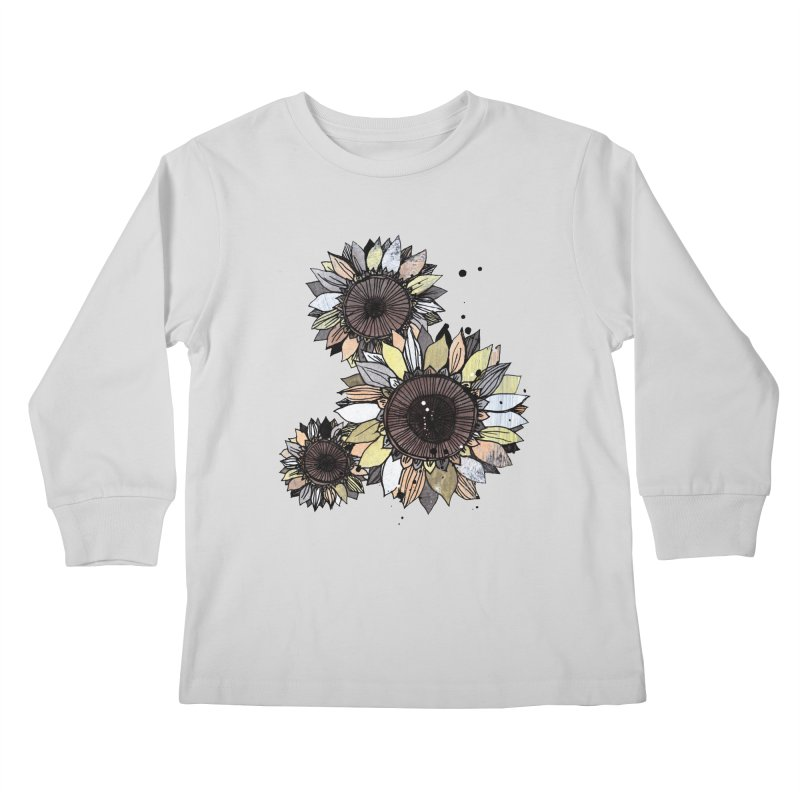Sunflowers (White) Kids Longsleeve T-Shirt by ilustramar's Artist Shop