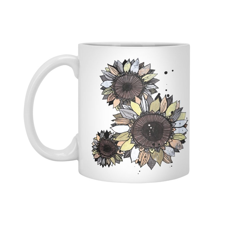 Sunflowers (White) Accessories Mug by ilustramar's Artist Shop