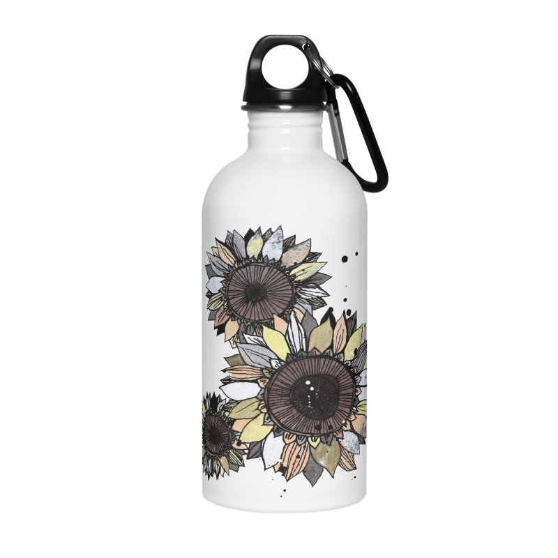 Sunflowers (White) Accessories Water Bottle by ilustramar's Artist Shop